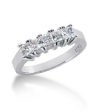 950 Platinum Diamond Anniversary Wedding Ring 5 Princess Cut Diamonds 0.85ctw 130WR364PLT