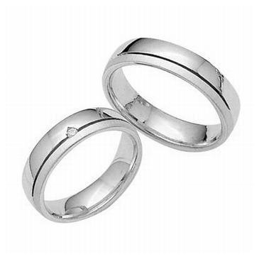 Platinum His & Hers 0.05 ct Diamond 032 Wedding Band Set HH032PLAT