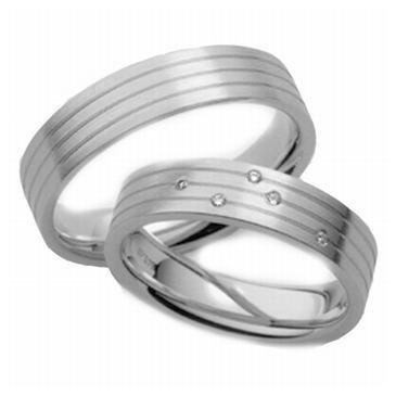 Platinum His & Hers 0.10 ct Diamond 038 Wedding Band Set HH038PLAT
