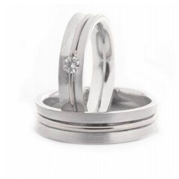 Plaatinum His & Hers 0.08 ct Diamond 051 Wedding Band Set HH051PLT
