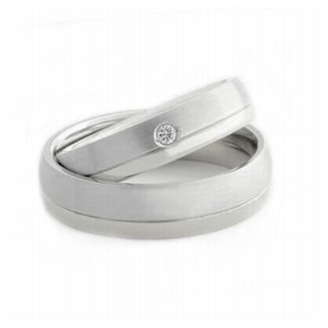 Platinum His & Hers 0.05ct Diamond 054 Wedding Band Set HH054PLAT