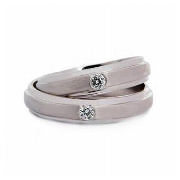 Platinum His & Hers 0.06ct Diamond 055 Wedding Band Set HH055PLAT