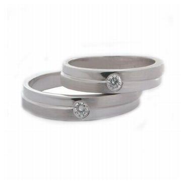 18k His & Hers Gold 0.07 ct Diamond Wedding Band Set 071
