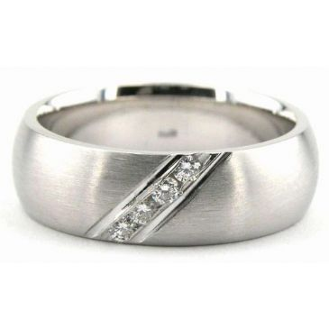 950 Platinum 6.5mm Diamond Wedding Bands Rings 0885