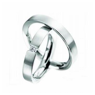 Platinum His & Hers 0.09 ct Diamond 114 Wedding Band Set HH114PLAT