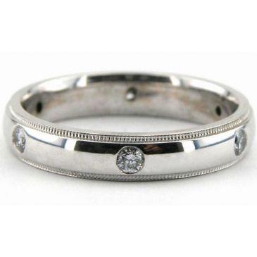 950 Platinum 4mm Diamond Wedding Bands Rings 1950