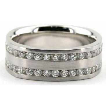 18K Gold 7mm Diamond Wedding Bands Rings 0891