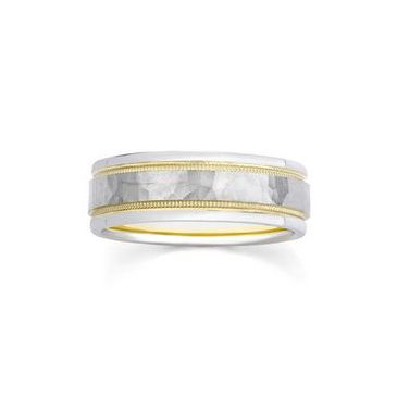 18k Gold Two Tone Hammered Milgrain 6.5mm Wedding Bands 238