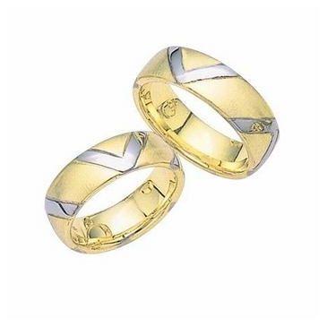 950 Platinum & 18K Gold His & Hers Two Tone V Design Wedding Band Set 008