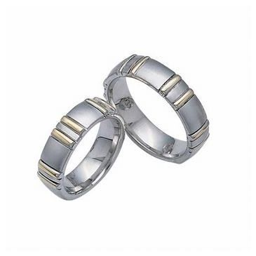 950 Platinum & 18K Gold His & Hers Two Tone Wedding Band Set 009