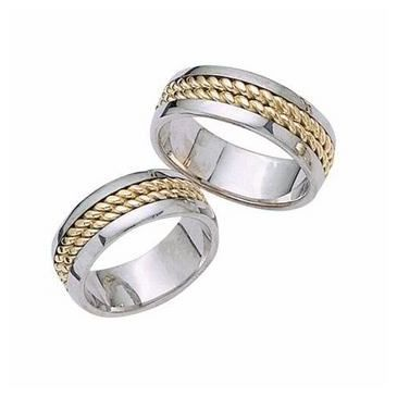 18k His & Hers Two Tone Gold 029 Wedding Band Set HH02914K