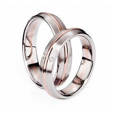 Platinum & 18k His & Hers Two Tone Gold 0.21 ct Diamond 040 Wedding Band Set HH040PLT