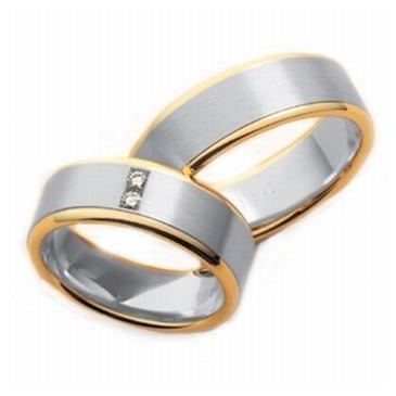18k His & Hers Two Tone Gold 0.10 ct Diamond 045 Wedding Band Set HH04518K