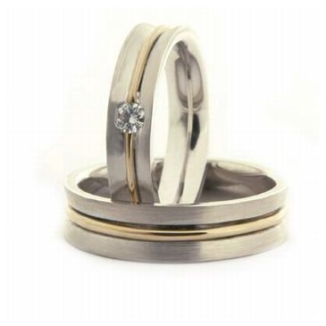 14k His & Hers Two Tone Gold 0.08 ct Diamond 049 Wedding Band Set HH04914K