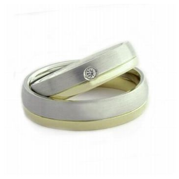 Platinum & 18k His & Hers Two Tone Gold 0.05 ct Diamond 053 Wedding Band Set HH053PLT