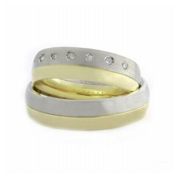 Platinum & 18k His & Hers Two Tone Gold 0.14 ct Diamond 057 Wedding Band Set HH057PLT