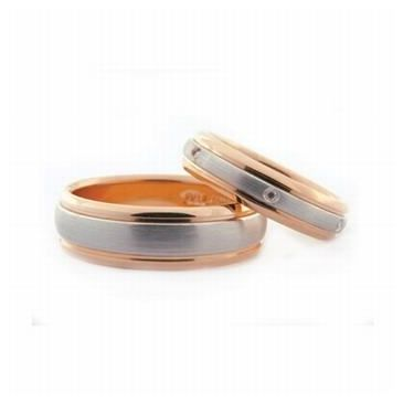 18k His & Hers Two Tone Gold 0.24 ct Diamond 068 Wedding Band Set HH06818K