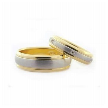 18k His & Hers Two-Tone Gold 0.24 ct Diamond 067 Wedding Band Set HH06718K