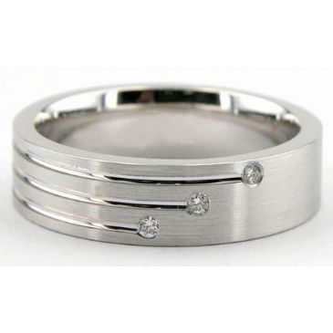 950 Platinum 6mm Diamond Wedding Bands Rings 1945