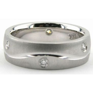 Platinum 950 6.5mm Diamond Wedding Bands Rings 0889