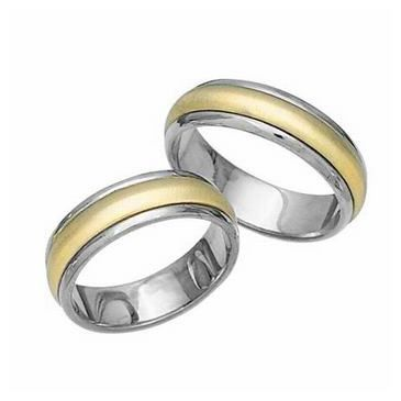 18k His & Hers Two Tone Gold 098 Wedding Band Set HH09818K