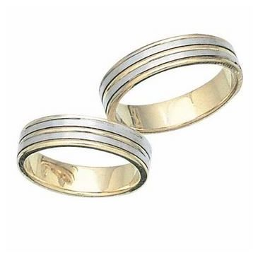 Platinum & 18k His & Hers Two Tone Gold 103 Wedding Band Set HH103PLT