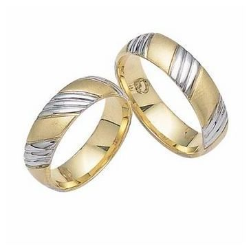 18k His & Hers Two Tone Gold 104 Wedding Band Set HH10418K