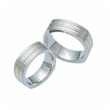 Platinum & 18k His & Hers Two Tone Gold 106 Wedding Band Set HH106PLT