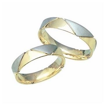 18k His & Hers Two Tone Gold 109 Wedding Band Set HH10918K