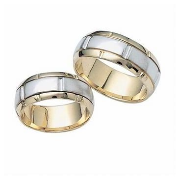 18k His & Hers Two Tone Gold 111 Wedding Band Set HH11118K