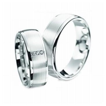 Platinum & His & Hers Gold 0.12 ct Diamond 124 Wedding Band Set HH124PLT