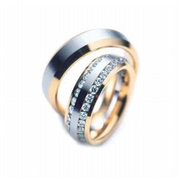 18k Gold His & Hers Two Tone 2.00 ct Diamond Wedding Band Set 128