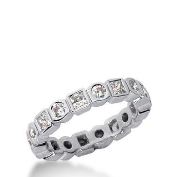 18k Gold Diamond Eternity Wedding Bands, Bezel Setting 1.00 ctw. DEB19818K