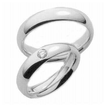 Platinum His & Hers Gold 0.05 ct Diamond 132 Wedding Band Set HH132PLT