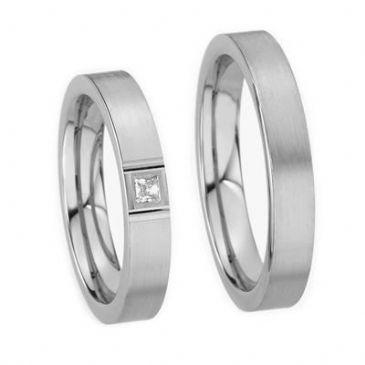 18k His & Hers Gold 0.05 ct Princess cut Diamond 135 Wedding Band Set HH13518K