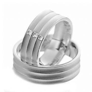Platinum His & Hers Gold 0.09 ct Diamond 136 Wedding Band Set HH136PLT