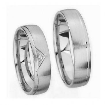 Platinum His & Hers Gold 0.05 ct Diamond 142 Wedding Band Set HH142PLT