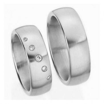 Platinum His & Hers Gold 0.14ct Diamond 143 Wedding Band Set HH143PLT