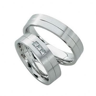 Platinum His & Hers Gold 0.15 ct Diamond 147 Wedding Band Set HH147PLT