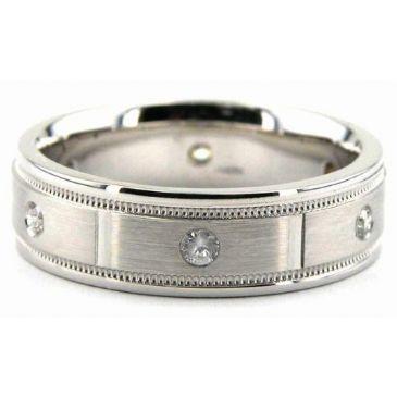 Platinum 950 6.5mm Diamond Wedding Bands Rings 0868