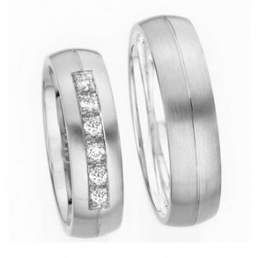 Platinum Gold His & Hers Diamond Wedding Band Set 0.36 ct. tw. HH151PLT