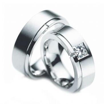 Platinum Gold His & Hers Diamond Wedding Band Set 0.2 ct. tw. HH155PLT