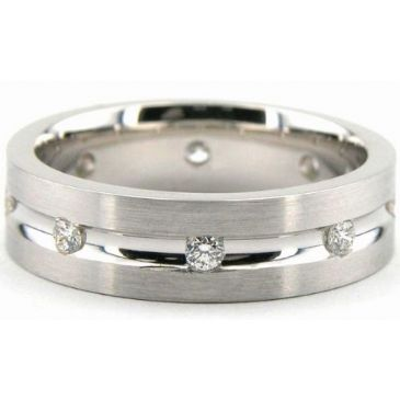 950 Platinum 6mm Diamond Wedding Bands Rings 1952