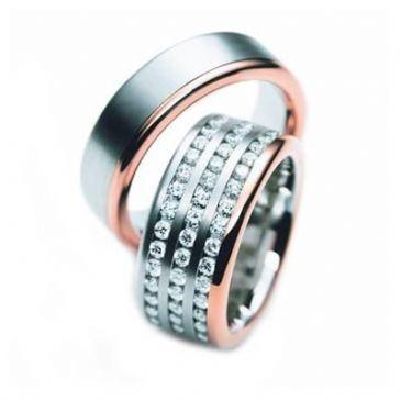 14k Two Tone Gold His & Hers Diamond Wedding Band Set 3 ct. tw. HH16214K