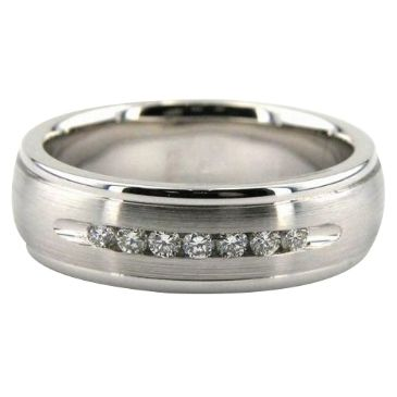 Platinum 950 7mm Diamond Wedding Bands Rings 0869