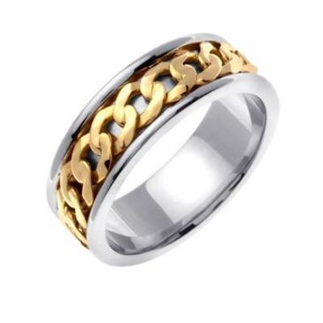 18K Gold Two Tone 7mm Gold Celtic Link Wedding Band 4024
