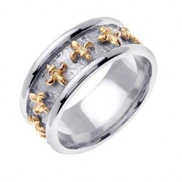 14K Gold Two Tone 9mm Celtic Fleur de Lis Ring 4026