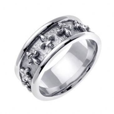 18K White Gold 9mm Celtic Fleur de Lis Ring 4025