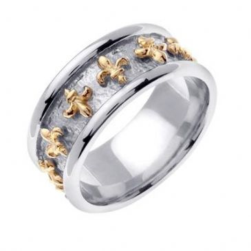 18K Gold Two Tone 9mm Celtic Fleur de Lis Ring 4026