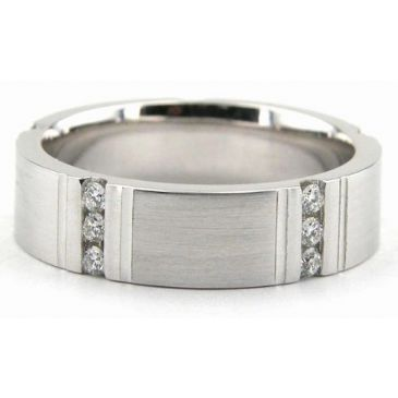 950 Platinum 6mm Diamond Wedding Bands Rings 1947